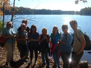 A Utilizing Nature for Improved Health class on a hike at Latta Plantation Nature Preserve (North Carolina, USA).